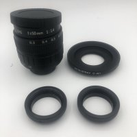 Lensa Fujian Lens 50mm f1.4 CCTV - adapter - 2X Ring