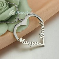 Kalung Nama Love Couple Silver Kekinian