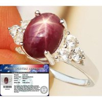 Cincin NATURAL 4.60 cts STAR RUBY & W.TOPAZ 100% SILVER SZ.7