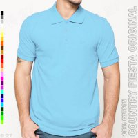 COUNTRY FIESTA Original P2-36 Baju Polo Shirt Cowo Cotton Biru Muda