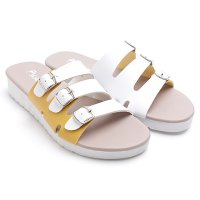 Dr.Kevin Ladies Flat Sandals 27337 White/Yellow