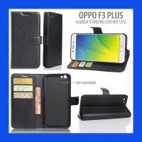 Oppo F3 Plus Agenda Standing Leather Book Case Casing Cover
