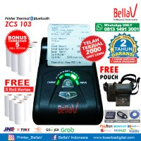 Printer Bluetooth Thermal ZCS 103 support Paytren Kudo I reap + Pouch Hitam + 5 Roll Kertas