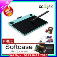 (Ready) Wacom Intuos Draw CTL490 mint blue free softcase dan Proskin Antigores