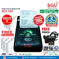 Printer Bluetooth Thermal ZCS 103 support Paytren Kudo I reap + Pouch Hitam + 20 Roll Kertas