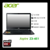 Notebook Acer ASPIRE Z3-451 AMD A10-5757M 2.5-3.5GHz QUAD/4GB/500GB/HD 8650G/14'/DOS/DVD-RW/Cam/BT