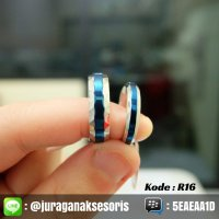Cincin Couple Titanium Blue Line + Ukir Nama + Box Cinc