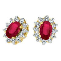 [macyskorea] Direct-Jewelry 14k Yellow Gold Oval Ruby and .25 total ct Diamond Earrings/9945061