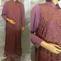 Unik Baju Muslim Brukat Dress Fashion Wanita Murah