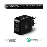 Uneed Travel Charger UCH04Q3 Qualcomm Quick Charge 3 Wall Charger Dual USB