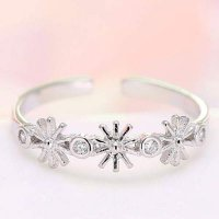 CINCIN 0225C7r Descendants DOTS SongHeKyo Flower Diamond Ring Silver Color