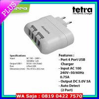 (Charger) Hippo Tetra Charger Adaptor 4 Port BB Samsung Iphone Xiaomi OPPO