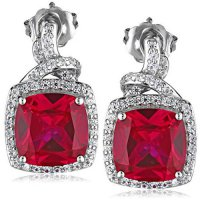 [macyskorea] Amazon Collection Sterling Silver Created Ruby and White Sapphire Cushion-Cut/9944226