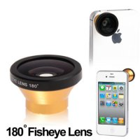 Fisheye Wide Angle Golden Lens 180 Degree for iPhone 4 & 4S / Mobile P