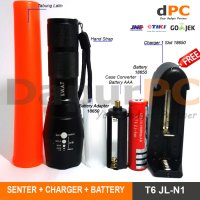 PAKET Senter E17 LED Cree T6 JL-N1 2000 Lumens + Battery + Charger
