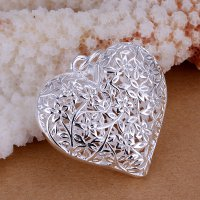 Kalung 925 Sterling Silver Solid Artwork Love Pendant Necklace