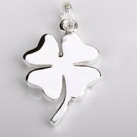 Kalung 925 Sterling Silver Lucky Four Clover Pendant Necklace