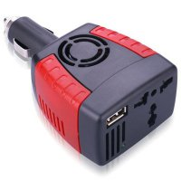 Compact Power Car Inverter 150W 220V AC EU Plug and 5V USB Charger - Black/Red