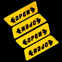 Stiker Reflective Pintu Mobil OPEN Warning Door - Yellow