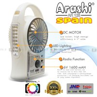 Emergency Kipas Angin,Lampu,Radio 3-in1 Arashi (Spain) 5 inch Portabel