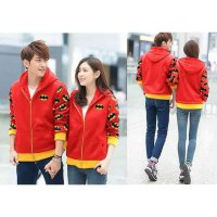 Couple Jaket Batman Merah LO jaket couple batman babyterry merah KMS