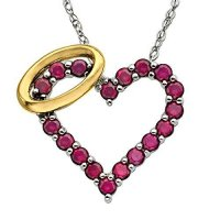 [macyskorea] Finecraft 7/8 ct Created Ruby Angel Heart Pendant Necklace in Sterling Silver/13972597