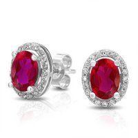 [macyskorea] Bling Jewelry Oval Pink Red Simulated Ruby CZ Stud Earrings 925 Silver/13763432