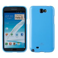 Mercury Jelly TPU Soft Case Samsung Galaxy Note 2 Casing Cover - Biru Muda