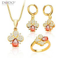 [macyskorea] DODO JEWELRY Ruby Jewelry Sets 18K Gold Plated Cubic Zironia Necklace Ring Ea/14233918