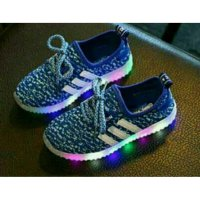 Sepatu anak LED 26-30 Adidas Yeezy Stripe Fashion LED s