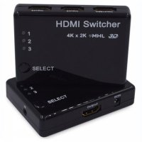 HDMI Switcher 3 Port 4K x 2K MHL 3D with Remote - Black