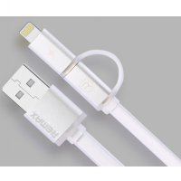 Remax Aurora High Speed Double Sided Micro Usb / Lightning Pin for Smartphone and iPhone 5/6 - White