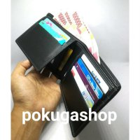 premium leather mens wallet black / dompet kulit pria resleting