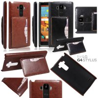 LG G4 Stylus H818 - Leather Textured Standing Hard Case Casing Cover with Card Slot
