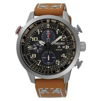 R.E.A.D.Y Seiko Prospex SSC421P1 Sky Solar Chronograph Black Dial Brown Leather