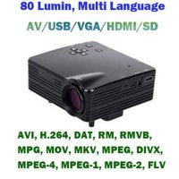Mini Portabel Projector H80 Resolution Support 1900 x 1080