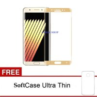 Tempered Glass Samsung Galaxy Note 7 List Gold Full Layar (Clear) FREE SoftCase