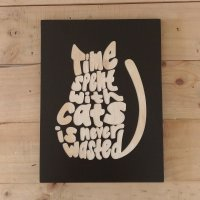 Hiasan Dinding Dekorasi Rumah Poster Kayu Quotes Spent With Cats - 30 x 40 cm