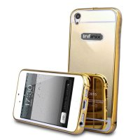 Bumper Mirror Infinix Note 2 X600 Backcase Metal Case Hardcase Softcase Gold