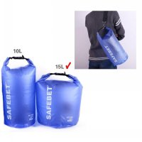 Safebet Floating Waterproof Bucket Dry Bag 15 Liter / Blue Transparan - Free Shoulder Strap