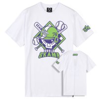 [Pepper shaker] ['s Camp] [SKAMP] Lockkey Baseball (purple / lime) white /'s camp / skamp / Shirt / T-shirt / Round / T /