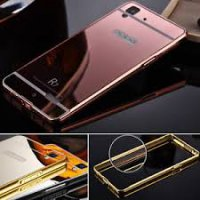 Aluminium Metal Bumper Slide Back Case with Mirror Cover Untuk Oppo R7 / R7 Lite