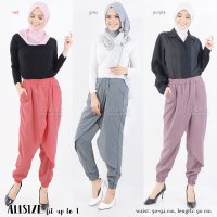Zaskia Front Layer Jogger Pants AllSize fit up to L - 8 Warna - Celana Jogger Wanita