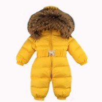 Russia Winter Baby Snowsuits kids Jumpsuit hold -25 18M-4T Boy Girls Warm natural fur Down Jacket Kids Clothes Infantil Rompers Yellow 18M,24M,3T,4T