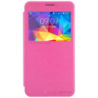 Nillkin Sparkle Leather Case Samsung Galaxy Mega 2 Casing Cover Flip - Merah Muda