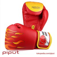 WOLON Fire Fist Gloves Boxing Sarung Tinju Full Glove Muay Thai Merah