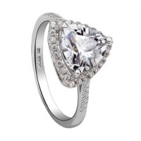 Triangle White Crystal Platinum Plated Ring