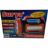 Senter lampu LED Surya SHT 40W Emergency 15LED White with POWER BANK