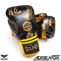 Rounin Boxing Glove Dragon Series 12 oz - Black Yellow - Sarung Tinju