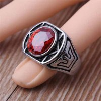Cincin Pria Stainless Steel Red CZ Crown Created Ruby